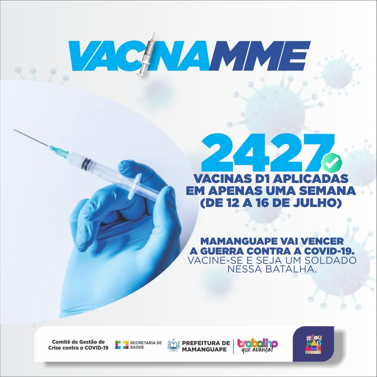 Mamanguape aplica 2.427 doses em uma semana e avança na vacinação contra a COVID-19